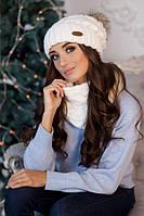 Комплект шапка с меховым помпон и шарф-снуд 4361-7 белый