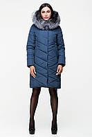 Зимняя женская куртка оттенка морской волны натуральная опушка