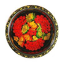 Конфетница деревянная Петриковская стилизация ручная роспись Калина 190мм низкая темная 9917