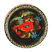 Конфетница деревянная Петриковская стилизация ручная роспись Мак василек 190мм низкая темная 9918