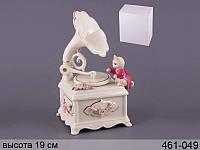 Музыкальная статуэтка Котик и патефон 19 см фарфор