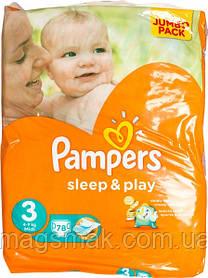 Подгузники Pampers Sleep & Play Midi 3 для детей 4-9 кг 78шт