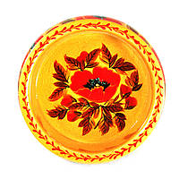 Конфетница деревянная Петриковская стилизация ручная роспись Мак 165мм низкая светлая 9921