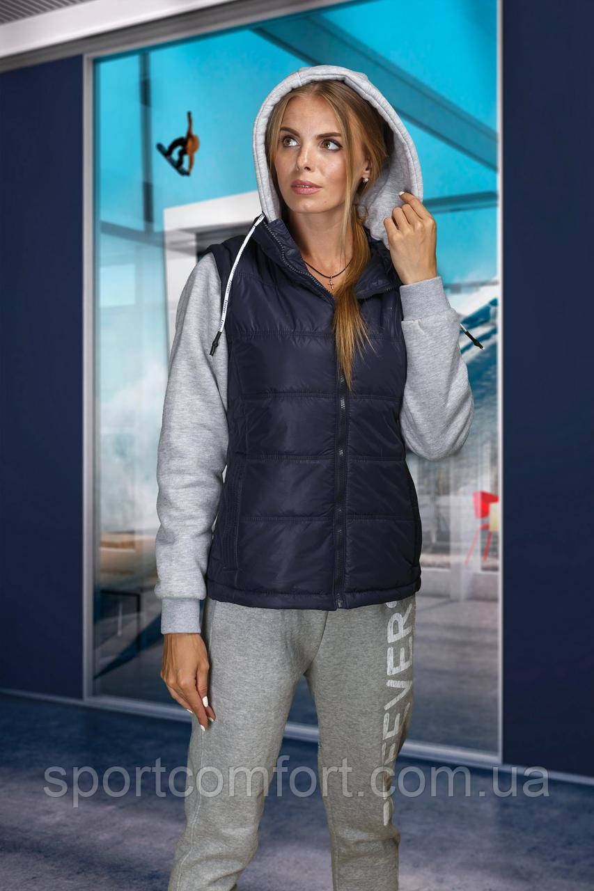 Женская спортивная куртка (трансформер) темно-синяя
