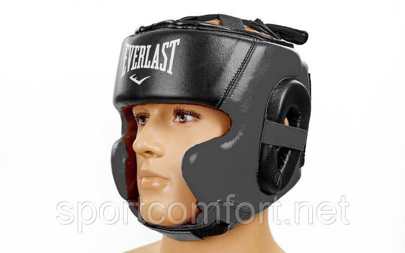 Шлем боксерский в мексиканском стиле открытый Elast Leather ( кожа ) черный