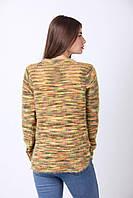 Уютный повседневный свитер в полоску разноцветную