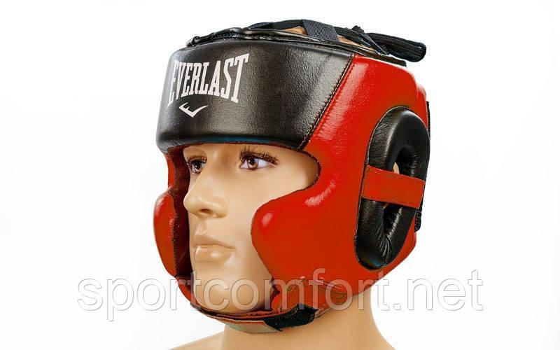 Шлем боксерский в мексиканском стиле открытый Elast Leather ( кожа ) красный
