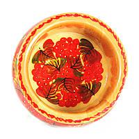 Конфетница деревянная Петриковская стилизация ручная роспись Калина 155мм низкая светлая 9925