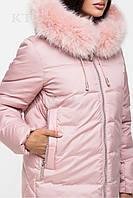 Стильная зимняя женская куртка  46, розовый