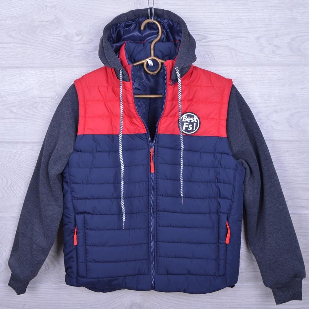 """Куртка подростковая демисезонная """"Best Fs"""" для мальчиков. 10-14 лет. Синяя+красный. Оптом."""