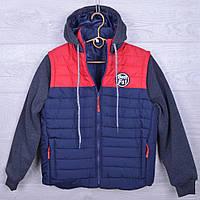 """Куртка подростковая демисезонная """"Best Fs"""" для мальчиков. 10-14 лет. Синяя+красный. Оптом., фото 1"""