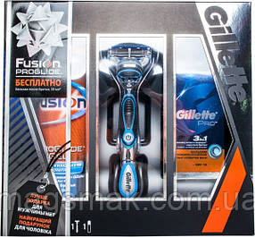 Подарочный набор Gillett Бальзам  + Гель + Бритва Gillette Fusion ProGlide