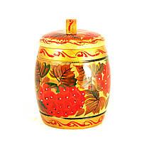 Сахарница деревянная Петриковская стилизация ручной работы ручная роспись Калина светлая 9927