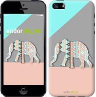 """Чехол на iPhone 5s Узорчатый слон """"2833c-21-4848"""""""