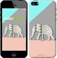 "Чехол на iPhone SE Узорчатый слон ""2833c-214-4848"""