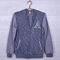"""Подростковая утепленная кофта на флисе """"A"""" для мальчиков. 10-14 лет. Темно-серая. Оптом."""