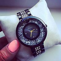 Супер стильны женские часы реплика Сваровски черный+черный циферблат