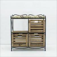 Диван (этажерка-лавка кованая) на 4 ящиками с мягким сиденьем