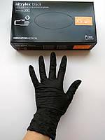Перчатки нитриловые неопудренные, черные Nitrylex  , XS. 100 шт.