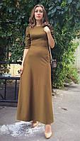 Платье длинное в пол оливковое П188