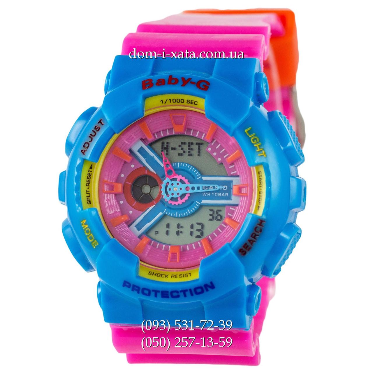 Электронные женские часы Casio Baby-G GA-110 Turquoise-Rose, спортивные часы Бейби Джи, реплика, отличное качество!