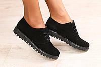 Женские туфли, замшевые, на шнурках, черные