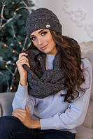 Комплект шапка и шарф-восьмерка с паетками 4460-8 темно-серый