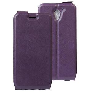 Чехол книжка для ZTE Blade A510 вертикальный флип, Гладкая кожа, фиолетовый