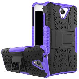 Чехол накладка для ZTE Blade A510 противоударный с подставкой, фиолетовый