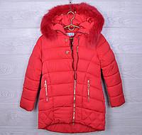 """Куртка подростковая зимняя """"Nova Club"""" #1155 для девочек. 9-13 лет. Красная. Оптом."""