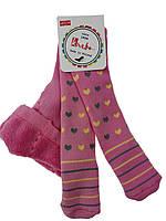 Розовые махровые колготы для девочки