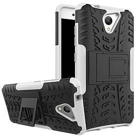 Чехол накладка для ZTE Blade A510 противоударный с подставкой, белый
