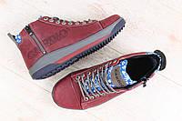 Мужские термоботинки, кожаные, бордовые, на шнурках, внутри - GORE-TEX, со специальными мембранами, которые пр
