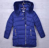 """Куртка подростковая зимняя """"Nova Club"""" #1155 для девочек. 9-13 лет. Темно-синяя. Оптом."""