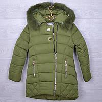 """Куртка подростковая зимняя """"Nova Club"""" #1155 для девочек. 9-13 лет. Зеленая. Оптом."""
