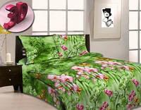 Комплект постельного белья Евро бязь -3947/1 Орхидеи в саду
