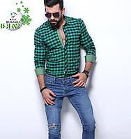 Бирюзовая клетчатая мужская рубашка на байке