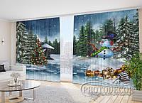 """Фото Шторы в зал """"Новогодний лес"""" 2,7м*4,0м (2 половинки по 2,0м), тесьма"""