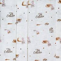 Тюль с рисунком Лён Чайная коллекция (белый)