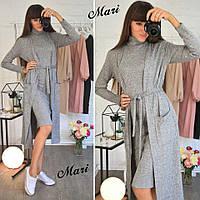 Женский комплект платье +кардиган резинка лапша (разные цвета)
