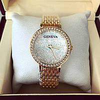 Стильные женские часы Женева золото+белый циферблат