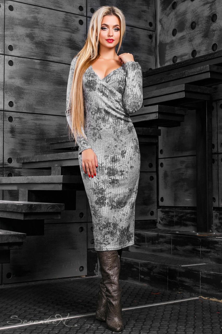 Красивое женственное платье 2373 серый