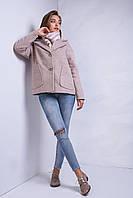 Шикарное осенне пальто утепленное в бежевом цвете из кашемира
