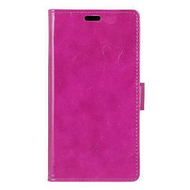 Чехол книжка для ZTE Blade A510 боковой с отсеком для визиток, Гладкая кожа, фиолетовый