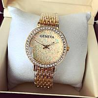 Стильные женские часы Женева золото+золотистый циферблат