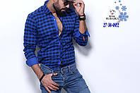 Синяя мужская рубашка на байке в клетку от производителя