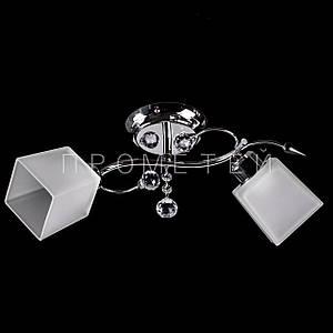 Припотолочная люстра на две лампочки (никель)P3-37275/2C/CR+WT