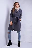 Дизайнерское пальто прямого фасона с поясом и карманами