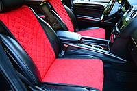 Комплект накидок на передние и задние  сидения красные из алькантары (ровные)