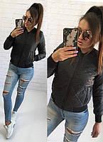 Демисезонная стёганная женская куртка бомбер с карманами чёрная S M L, фото 1